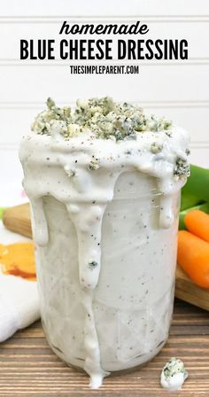 Learn how to make Homemade Blue Cheese Dressing! So tasty!