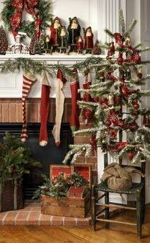 Ragon House Christms Primitive Christmas Decorating, Prim Christmas, Christmas Fireplace, Christmas Mantels, Merry Little Christmas, Country Christmas, Christmas Wreaths, Christmas Crafts, Christmas Holidays