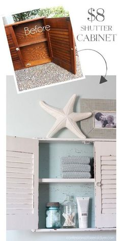 Recycle an old shuttered cabinet into a gorgeous coastal decor storage shelf.