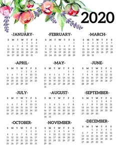 Free Printable 2019 Calendar Yearly One Page Floral. 2019 year at a glance calendar poster. Office desk organization and decor. Source by cpikester Printable Yearly Calendar, Printable Calendar Template, Calendar Pages, 2019 Calendar, Desk Calendars, Free Printables, Monthly Planner, Student Calendar, January Calendar