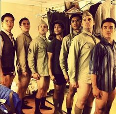 The men of Allegiance at intermission. Oh myyyy! How could you avoid this draft? Show must end 10/28... For Tix www.allegiancemusical.com/tickets