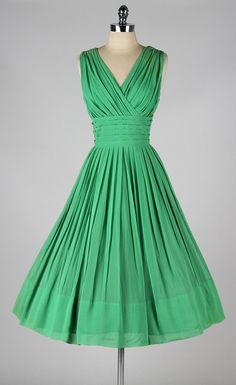 vintage 1950s party dress . emerald green by millstreetvintage