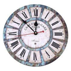 "Wall Clock Rustic Vintage Roman Numeral Design France Paris Rust Metal Look 12"" #SOLEDI #VintageRetro"