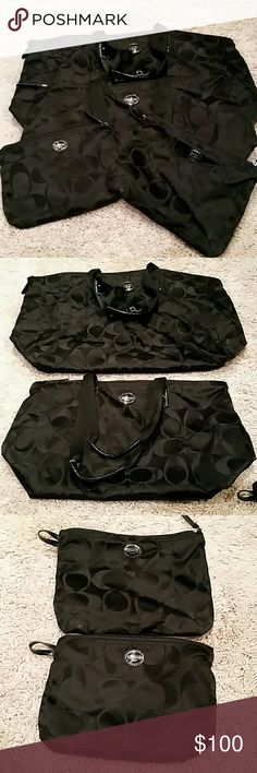 Coach canvas travel set in black signature Brand new, never carried.  Small bags snap into larger ones.  24x14, 20x12, 8x10.5 and 7x10 Coach Bags Totes