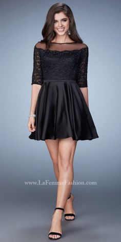 Illusion Off the Shoulder Rhinestone Homecoming Dress by La Femme
