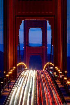 Golden Gate Bridge in San Francisco CA USA at dusk / dark / night