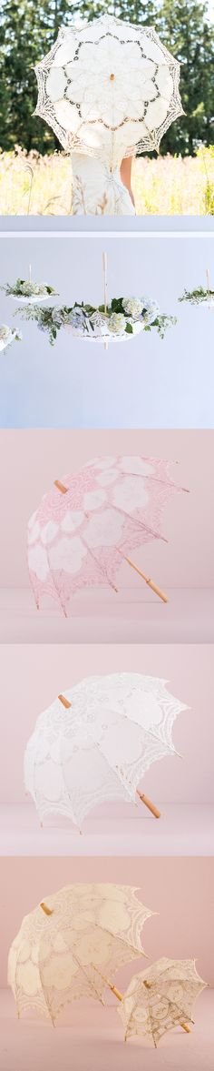 Our Antique Battenburg Lace Parasols are the perfect accent for your wedding. Give them out as favors to help keep your guests cool and out of the sun on a hot day. Or use our romantic parasols as a nice prop in photos too. Parasols available in Beige, White and Pink. www.teaandbecky.com