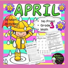 No Prep! Grade 3! Math for April! Here are 30 math activities to help students review math skills! Your students will adore these fun filled activities for math! Just print and use! Answer keys and Table of Contents are included!