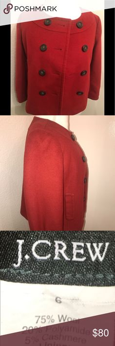 J.CREW DOUBLE BREASTED CROPPED PEA COAT. J. CREW RED/CRANBERRY COLORED CROPPED DOUBLE BREASTED PEA COAT. GOOD USED CONDITION. FULLY LINED. SIDE POCKETS. WOOL BLEND. SLIGHT IMPERFECTION ON BACK SEE PIC #4. J. Crew Jackets & Coats Pea Coats