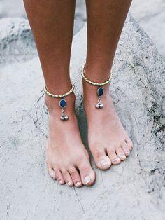 tobillera lapis lazuli etnico boho tribal nomada por azulcasinegro