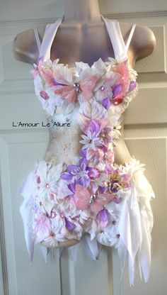 Pink Lavender Frosted Winter Fairy Monokini Costume Cosplay Dance Rave Bra Halloween Burlesque Show Girl