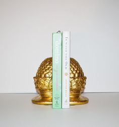 Vintage Pineapple Bookends Hollywood Regency Gold by JudysJunktion, $93.50