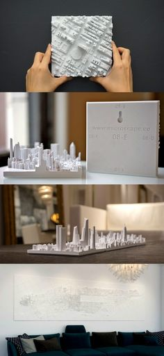 The Microscape is a really cool art-mural of a city. You can purchase a 3D printed 'square plot of the city' to give your mantelpiece a cool, kitschy touch, or go ahead and purchase adjacent plots to make a crazy mural of your metropolitan city //