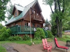 Stay in this beautiful custom Pan-abode Log home that can sleep at least 8 people with a full kitchen, Dining . Golden Lake, Cottage Rentals, Lake Cottage, Log Homes, Cabin, House Styles, Beach, Beautiful, Home Decor