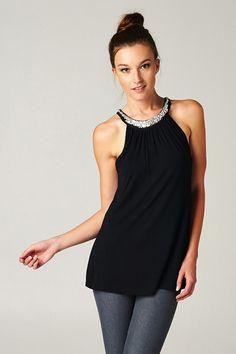 Crystal Joni Top in Black