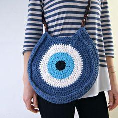 Crocheted evil eye bag, Blue Handbag, Greek Eye Handbag by Soulmadehome on Etsy