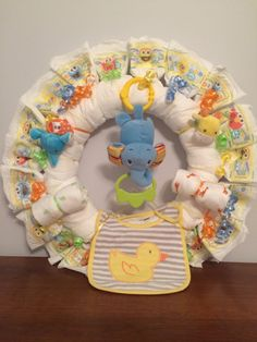 Animal Diaper Wreath, unisex, Green, orange, blue and yellow on Etsy, $70.00
