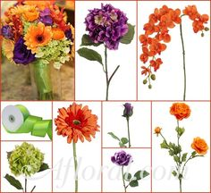 Orange & Purple Wedding with Orange Orchids, Gerbera Daisies, & Ranunculus, Purple Hydrangea & Roses, and Green Hydrangea & Ribbon. #orange wedding #fall wedding #afloral http://blog.afloral.com/inspiration-boards/sherrys-orange-green-purple-fall-wedding-inspiration-board/