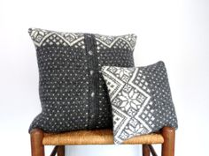 Pillow Covers Knitted Icelandic Knit Gray Up by ButtermilkCottage, $30.00
