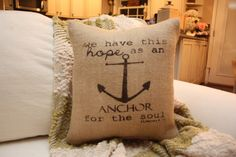 Hebrews 619 Burlap Throw Pillow / Anchor Pillow by tootyb on Etsy, $25.00