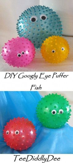 DIY Googly Eye Puffer Fish Ok so out of ALL of my 'Under the Sea' Party ideas, these little googly eyed puffer fish are definitely the fastest and EASIEST to make (and they turned out pretty cute if I do say so myself!) I LOVE LOVE LOVE new members! Mermaid Theme Birthday, Little Mermaid Birthday, Little Mermaid Parties, First Birthday Parties, Birthday Party Themes, 4th Birthday, Birthday Ideas, Under The Sea Decorations, Ocean Party Decorations