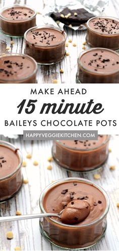 A decadent, boozy dessert to impress! With just 3 ingredients and 15 minutes to prepare, no one will know how easy this Pudding Desserts, Peanut Butter Desserts, Dessert Recipes, Appetizer Recipes, Salted Chocolate, Chocolate Pots, Chocolate Desserts, Chocolate Decorations, Unique Desserts