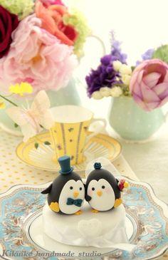 LOVE ANGELS Wedding Cake Topper-love Penguins. $90.00, via Etsy.