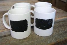 chalk painted coffee mugs