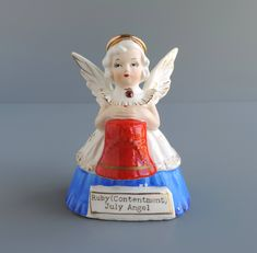 Vintage SR July Angel of the Month Figurine, Birthday Girl with Ruby Birthstone Holding Red Liberty Bell, Made in Japan by TheLogChateau on Etsy
