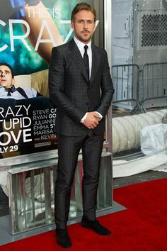 Checked suit at the Crazy, Stupid, Love premier