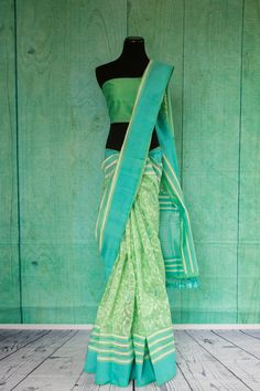 90C130 Traditional Woven Saree from Banaras Light Green & White Striped with Teal Accent