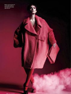 Pamela Bernier for Elle Canada November  Mohair coat and clutch, and patent-leather platforms by John Rocha Cotton tights by Secret