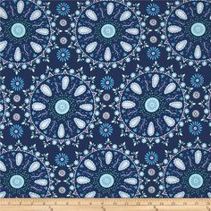 Dena Designs Sunshine Linen Blend Circle Medallion Navy from @fabricdotcom  This lightweight linen blend fabric has a luxurious hand with a full-bodied drape. Perfect for fine linens, heirloom projects, blouses, shirts, fuller skirts & dresses, light jackets, and home decor items. Machine wash gentle and dry on low for softness or dry clean to maintain original texture. Colors include mint, periwinkle, white and light blue on a navy background.