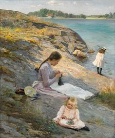 https://flic.kr/p/ArByEu | Fanny Brates 'Sommaridyll' (Summer holiday) 1894 | Fanny Ingeborg Matilda Brate (1862–1940) Swedish painter. Her paintings influenced Carl Larsson's watercolors of idyllic family life. Oil on canvas 77 x 64 cm