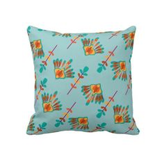 Modern Floral Pattern Orange Amber Teal Blue   A modern abstract floral pattern in lovely shades of orange, amber, teal and blue. A very stylish throw pillow suitable for any type of room.
