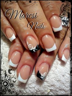 Black and white french nail, French nail with rose painting