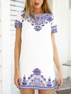 Hot Vintage Blue And White Print Pattern Dress