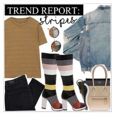 """""""One Direction: Striped Shirts"""" by teoecar ❤ liked on Polyvore featuring AMIRI, CÉLINE, Paige Denim and stripes"""