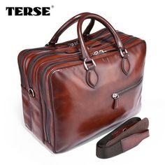 TERSE 2017 new brand vintage bag men zipper around handbag travelling bag  mens design genuine leather 9d687430f082c