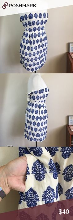 J. Crew Strapless Cream With Blue Embroidery Dress So beautiful. The cream background really makes the blue embroidery stand out. Dress is strapless with built in wire for chest support. Plus pockets! Excellent used condition. Live long and poshper 🖖🏼 J. Crew Dresses Strapless