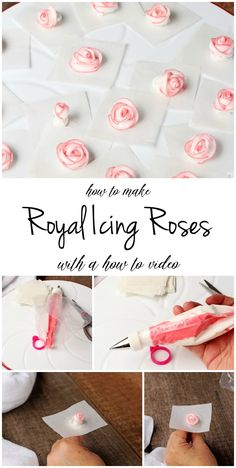 How to Make Simple Royal Icing Roses Even if the Humidity is High The Bearfoot Baker Iced Cookies, Royal Icing Cookies, Sugar Cookies, Baking Cookies, Sugar Cookie Icing, Owl Cookies, Frosting Flowers, Royal Icing Flowers, Rose Icing