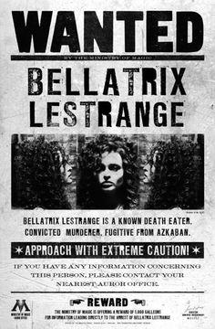 harry potter bellatrix lestrange wanted poster