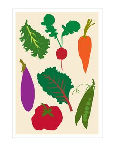 vegetable poster 13 x 19 inches vibrant kitchen art by LizzyClara, $25.00
