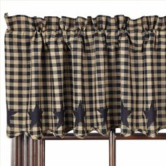 "This black and khaki check valance is made of 100% cotton fabrics, comes lined and features a scalloped edge with appliqued stars. It measures 16"" in height including the 2"" header and 72"" width with a 3.25"" rod pocket. #country #star #valance #curtains"