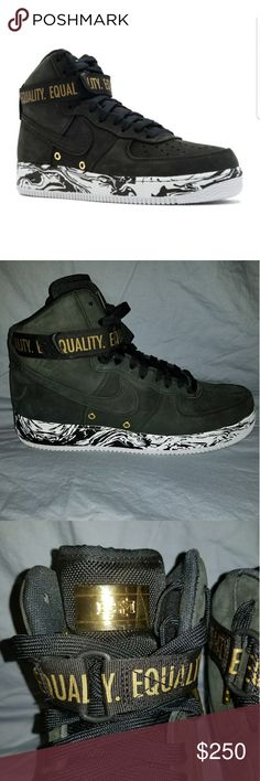 Limited Edition BHM Air Force Ones The limited edition Air Force 1 'BHM' incorporates a decorative marbling — blending black and white — in reference to the strength of harmonious movement. The AF1 is also punctuated by gold accents, which serve as reminders of the power of coming together and the aspiration of unity... Worn Once Nike Shoes Sneakers