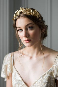 Laurel Leaf Tiara Gold Tiara Leaf Halo Gold Leaf by AnnaMarguerite