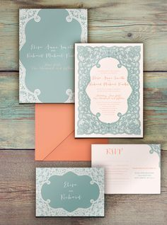 Peach sage green lace wedding invitations printable or printed by DesignedWithAmore on Etsy https://www.etsy.com/listing/220087902/peach-sage-green-lace-wedding