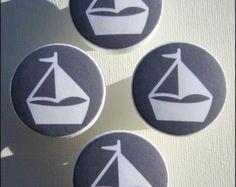 • Tiroir à boutons nautique tire • voilier boutons • marin • gris • boutons en bois • 1-1/2 pouces