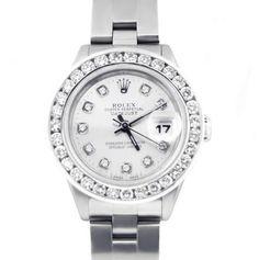 Rolex Ladies Datejust Stainless Steel Silver Diamond Dial / 2.00ct Bezel Oyster #Rolex