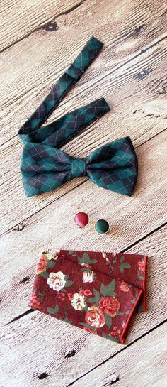 Men's Bow Tie Pre-tied Bow Tie For Men  Check by NAFEstudio